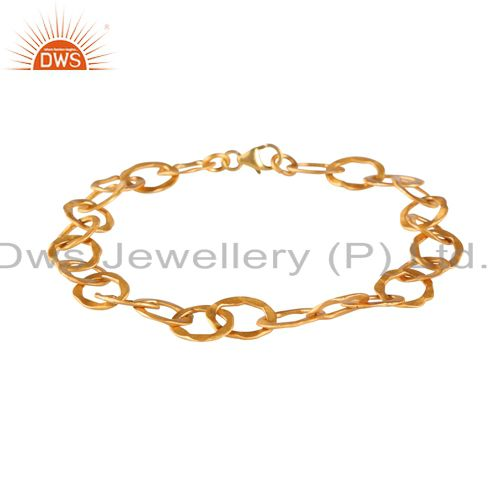 18k yellow gold plated sterling silver hammered open link circle bracelet
