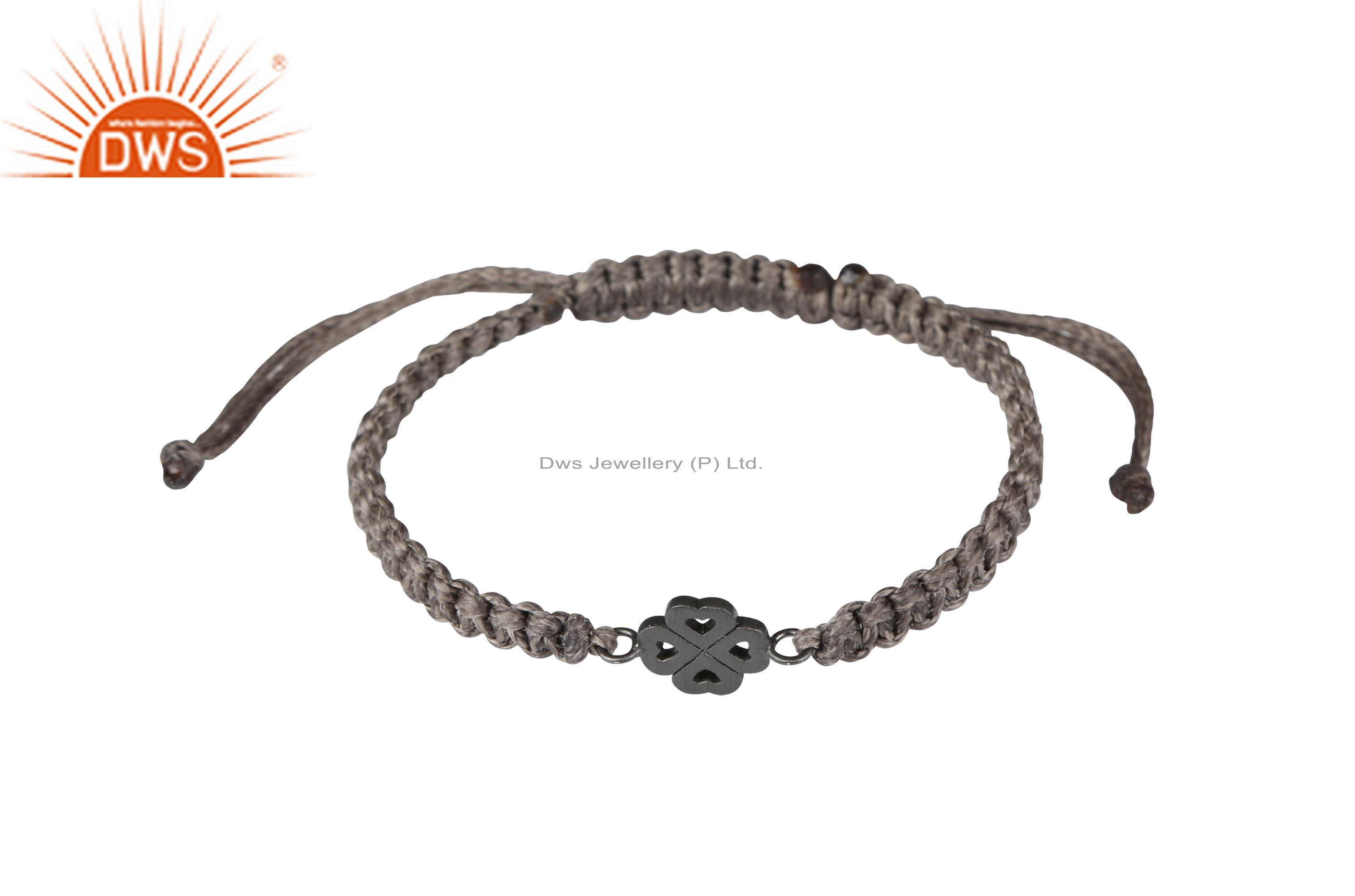 Oxidized Sterling Silver Four Heart Charms Macrame Bracelet