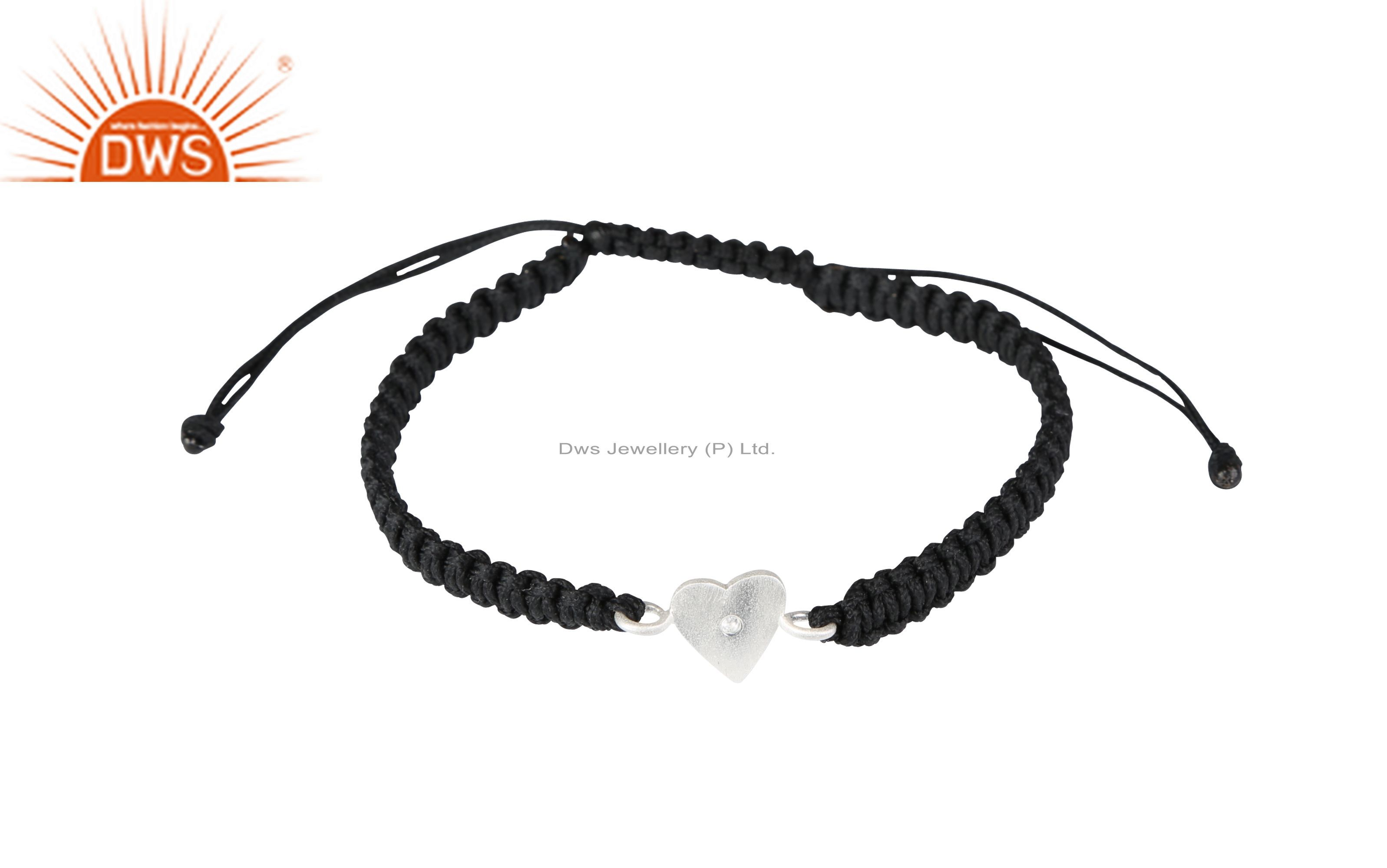 Handmade Sterling Silver White Topaz Heart Connector Black Macrame Bracelet