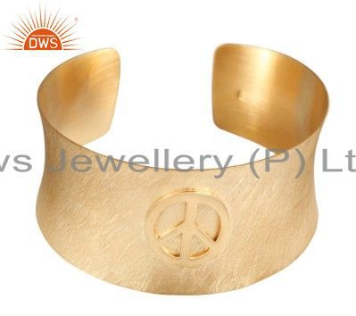 22K Yellow Gold Plated Sterling Silver Brushed Finish Wide Cuff Bracelet