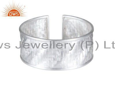 Handcrafted solid sterling silver woven wide bangle cuff bracelet