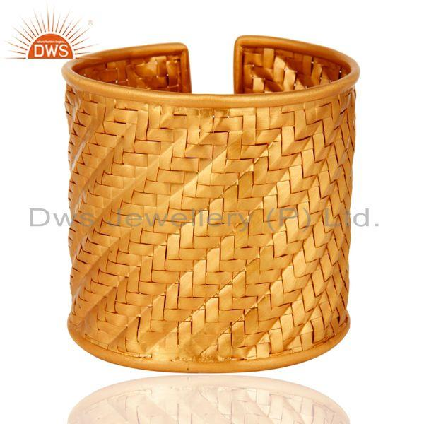 Handmade wire mesh gold plated sterling silver cuff bangle wholesaler
