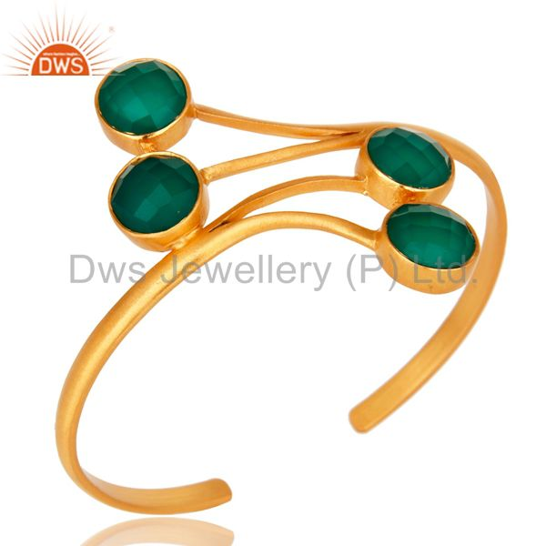 14K Yellow Gold Plated Green Onyx Gemstone Bangle Cuff Bracelet