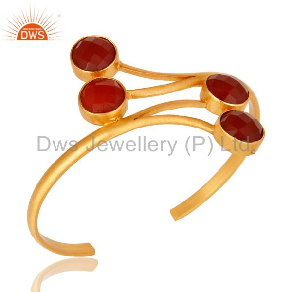 14K Yellow Gold Plated Handmade Red Onyx Gemstone Bangle Cuff Bracelet