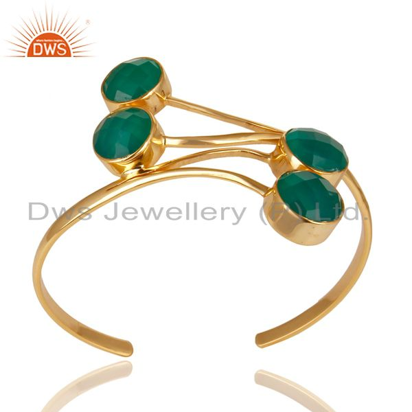14K Gold Plated 925 Sterling Silver Handmade Green Onyx Wide Cuff Jewelry