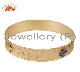 18k yellow gold plated sterling silver white topaz fashion bangle