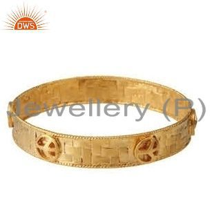 18K Yellow Gold Plated Sterling Silver Woven Pattern Designer Bangle Bracelet