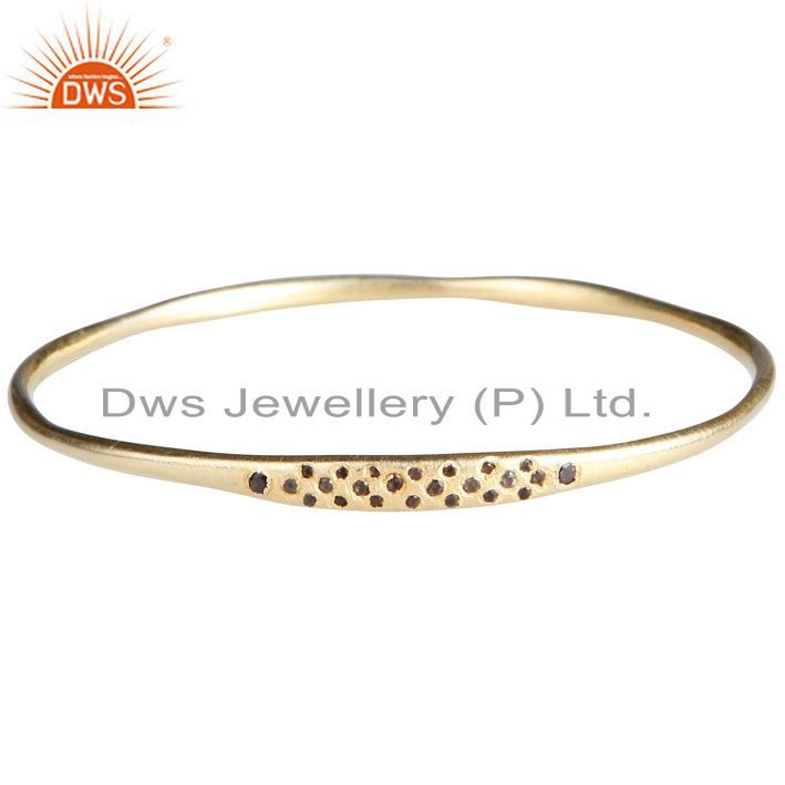 18K Yellow Gold Plated Sterling Silver Smoky Quartz Stackable Bangle
