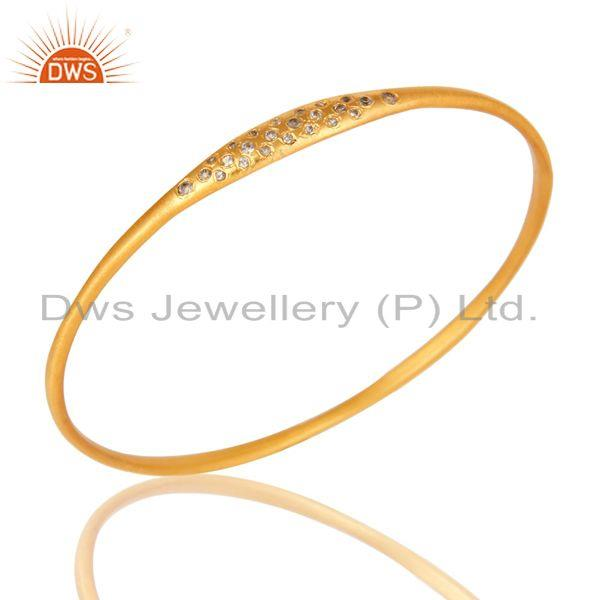18k yellow gold over sterling silver white topaz sleek bangle