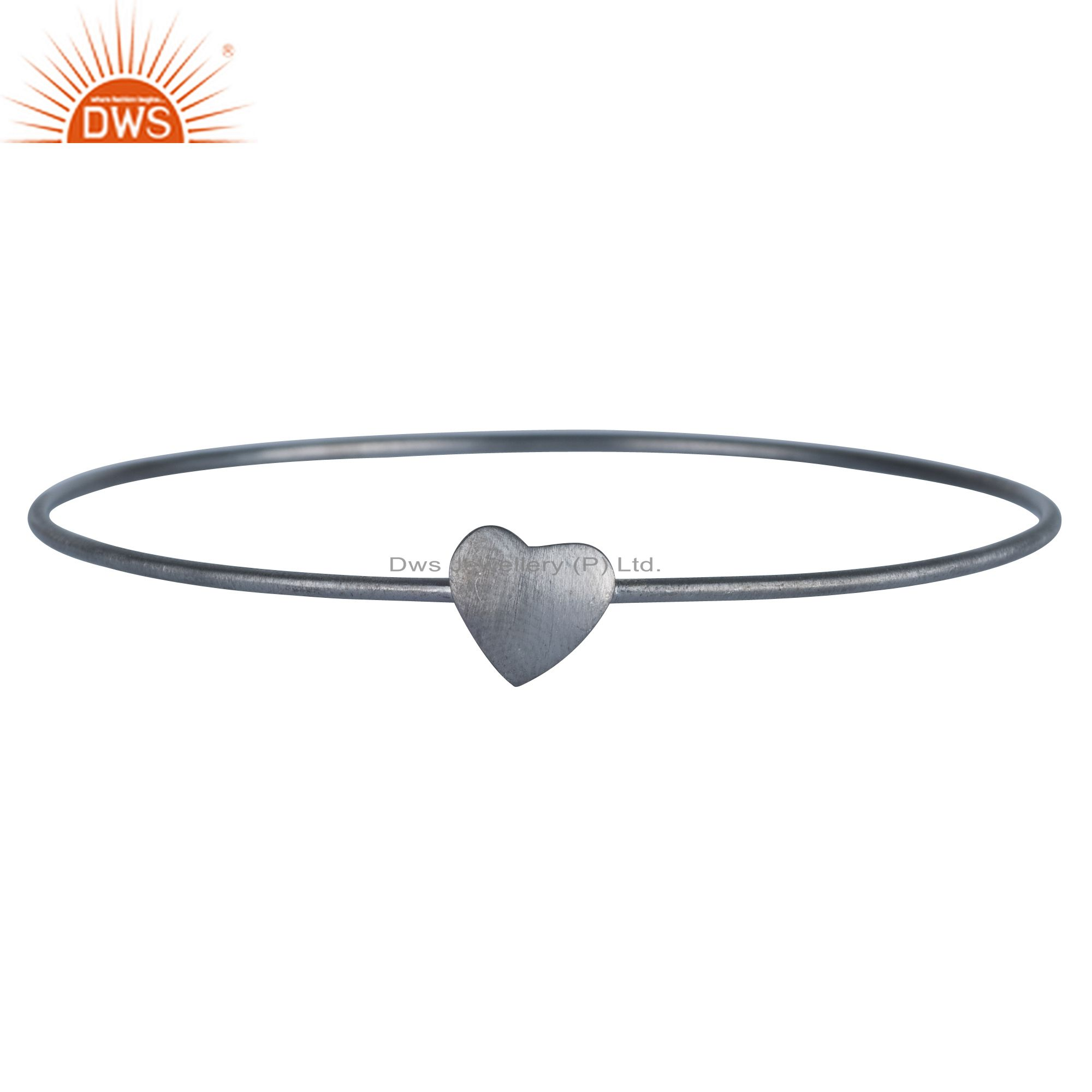 Black Rhodium Plated Sterling Silver Heart Sign Simple Stacking Bangle Bracelet