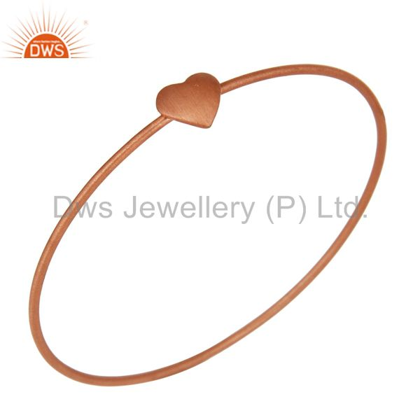18K Rose Gold Plated Sterling Silver Heart Sign Simple Stacking Bangle Bracelet