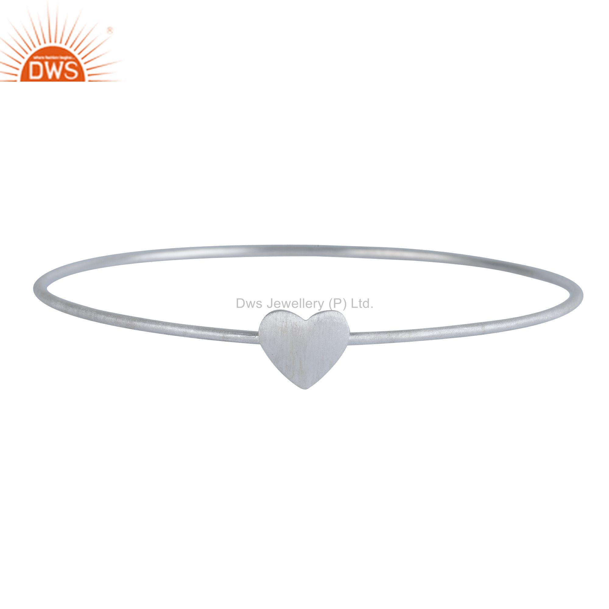 Handmade 925 Solid Sterling Silver Stackable Heart Bangle Bracelet Jewelry