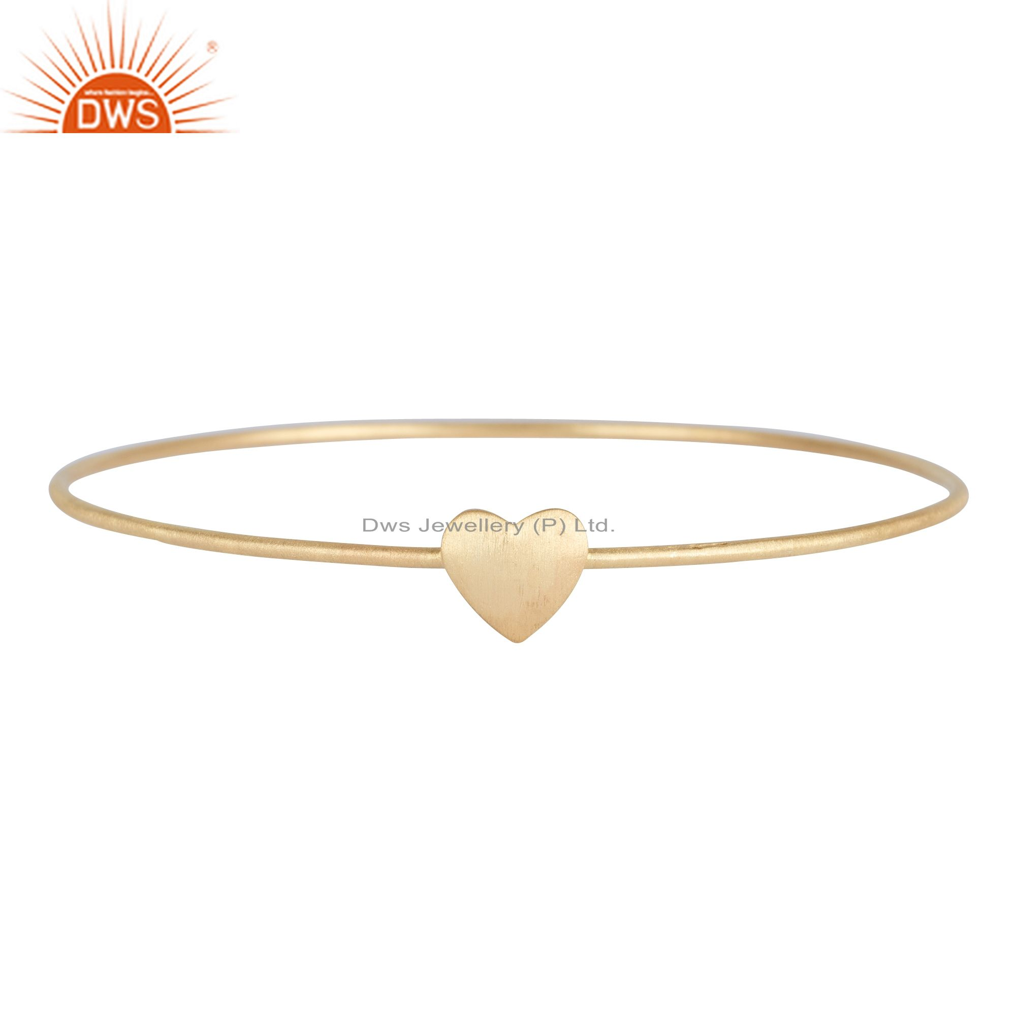 18k yellow over sterling silver heart sign simple stacking bangle