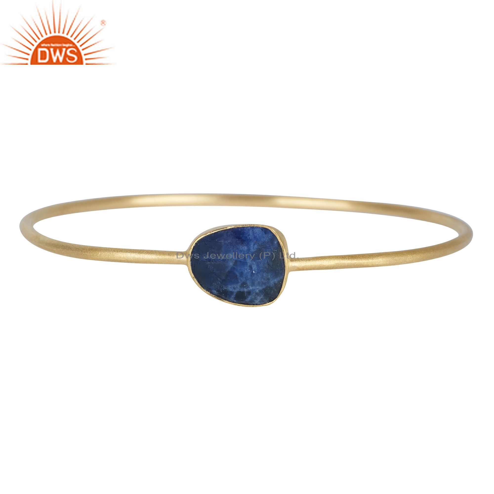 18K Yellow Gold Plated Sterling Silver Dyed Blue Sapphire Stackable Bangle