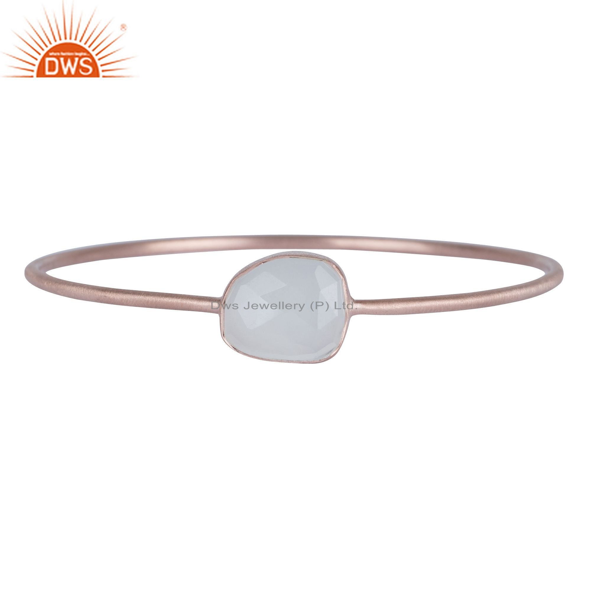 18k rose gold over 925 sterling white chalcedony stackable bangle