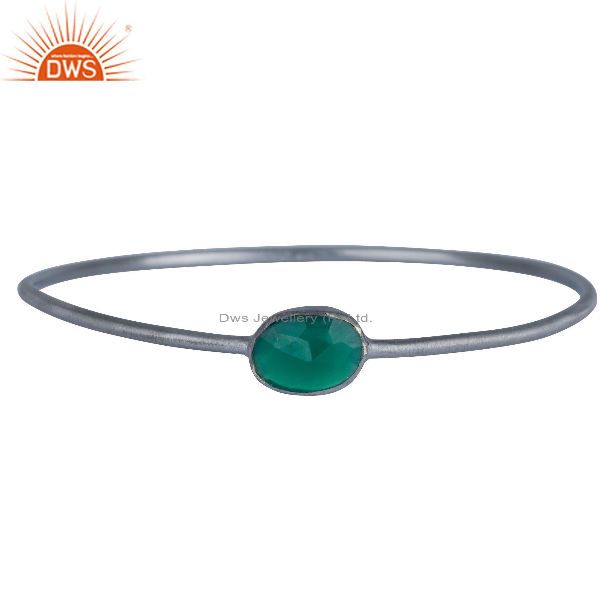 Handmade Sterling Silver With Oxidized Green Onyx Gemstone Stackable Bangle