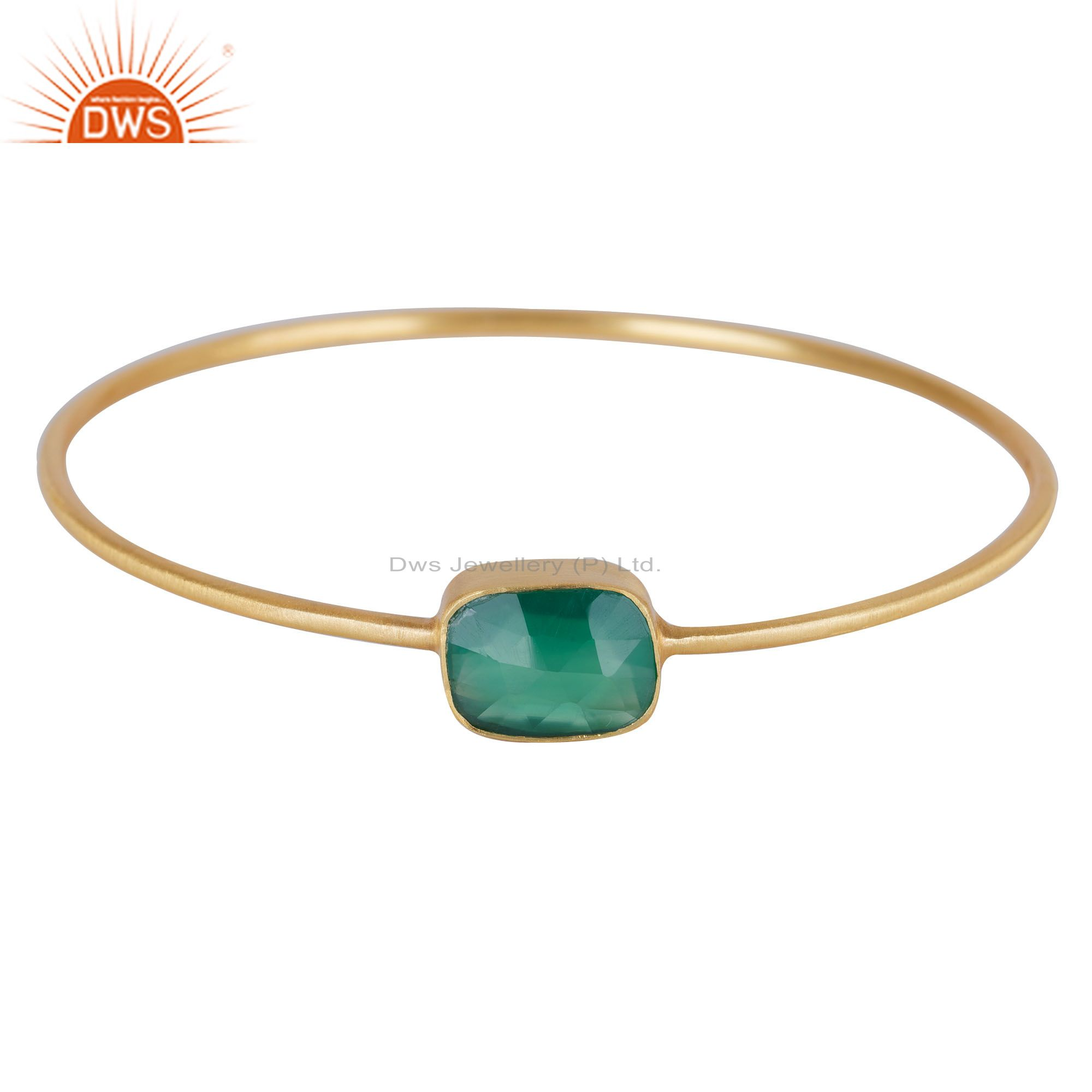 18K Yellow Gold Plated Sterling Silver Green Onyx Sleek Bangle