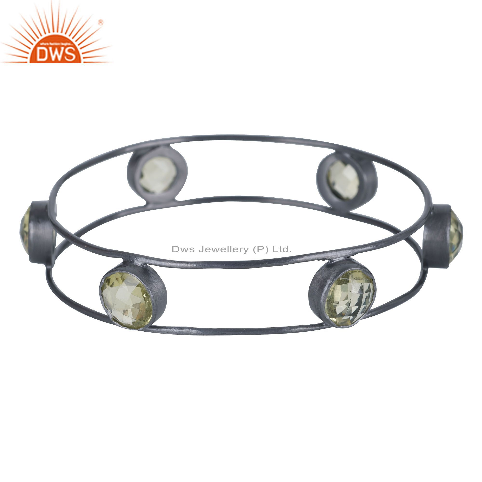 Handcrafted Sterling Silver With Oxidized Lemon Topaz Bangle Bracelet