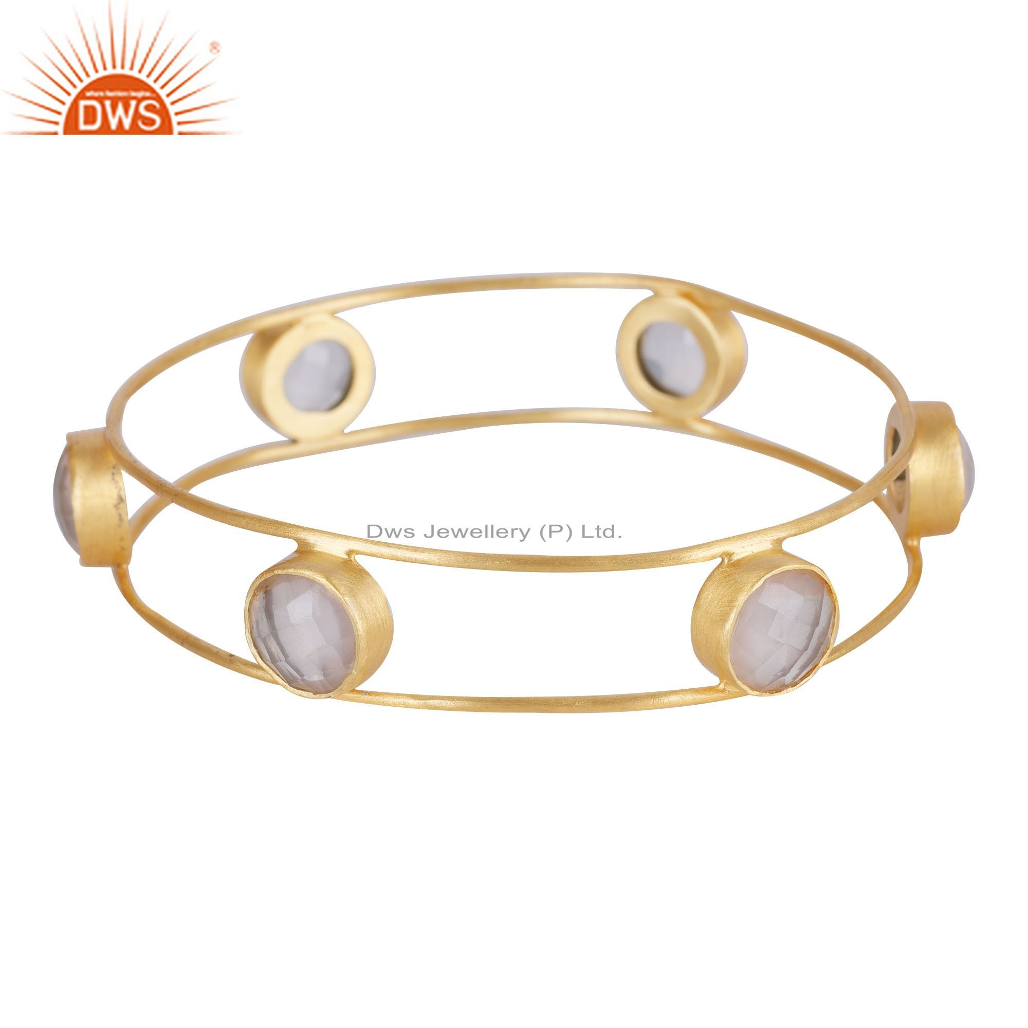 18K Yellow Gold Plated Sterling Silver Rose Quartz Gemstone Bangle Bracelet