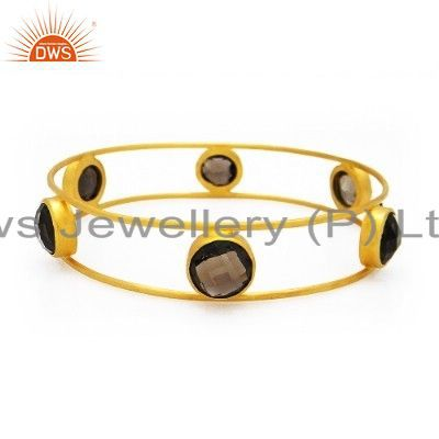 18K Yellow Gold Plated Sterling Silver Smoky Quartz Gemstone Bangle Bracelet