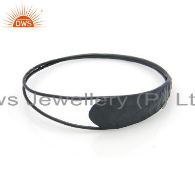 Handcrafted oxidized 925 solid sterling silver double bar bangle