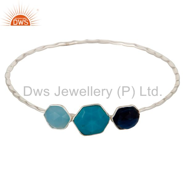 Silver Trio Bangle With Blue Corundum, Chalcedony and Turquoise