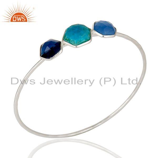 Turquoise, Blue Corundum And Chalcedony Handmade Bangle In Sterling Silver