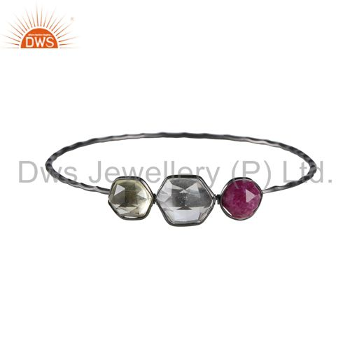 Oxidized Sterling Silver Lemon Topaz, Crystal Quartz And Dyed Ruby Stack Bangle