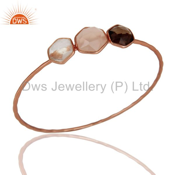 Rose Chalcedony Smokey and Crystal Rose Gold Plated Sterling Silver Bangle