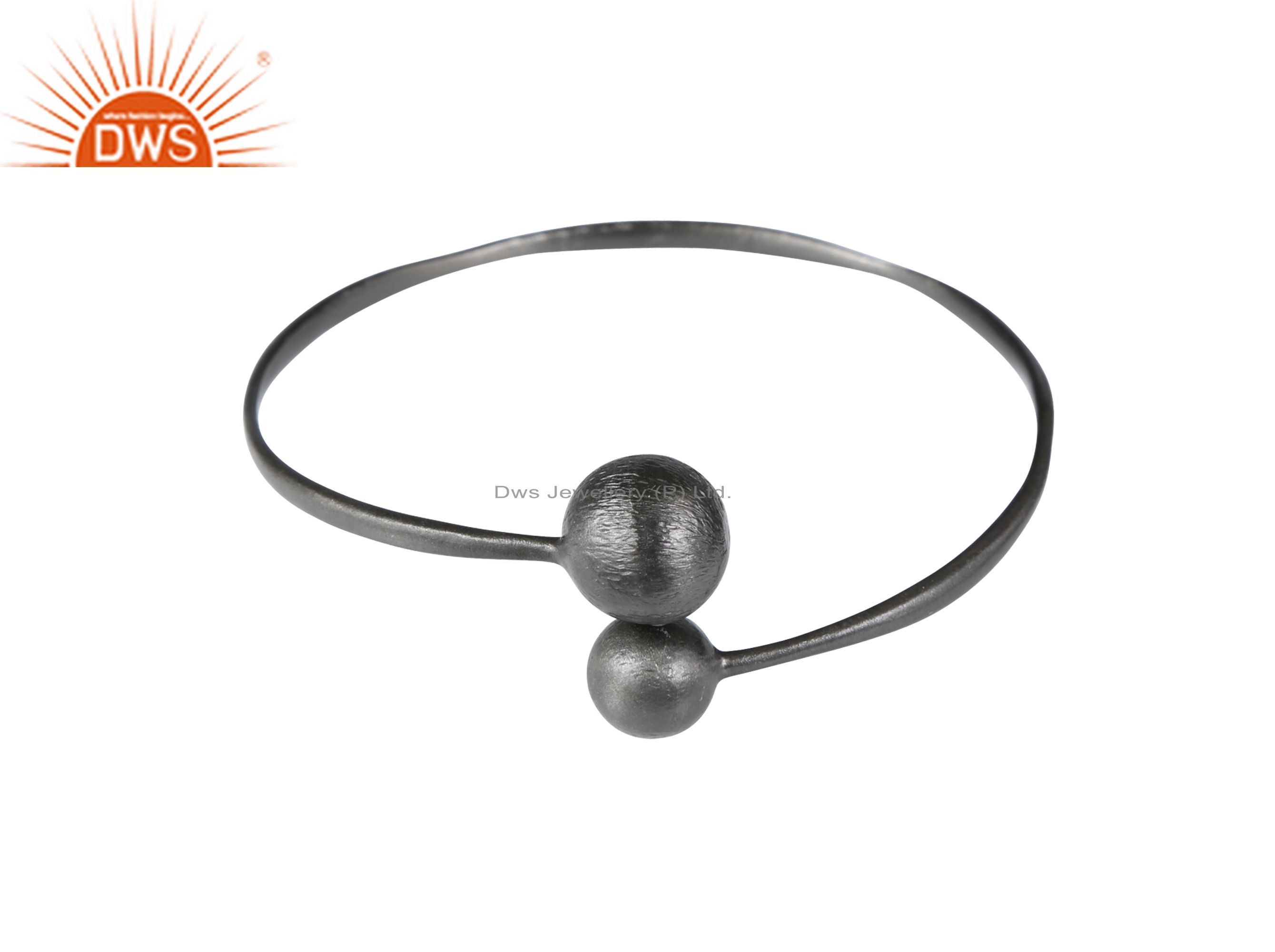 925 sterling silver with oxidized stackable adjustable bangle