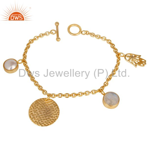 14K Yellow Gold Plated Handmade Rainbow Moonstone & Pearl Chain Brass Bracelet