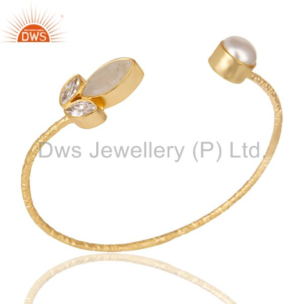 14K Yellow Gold Plated Rainbow Moonstone Pearl & CZ Sleek Brass Cuff Bangle