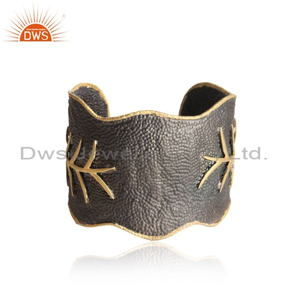 Designer Bold Cuff in Yellow Gold Black Rhodium on Silver 925