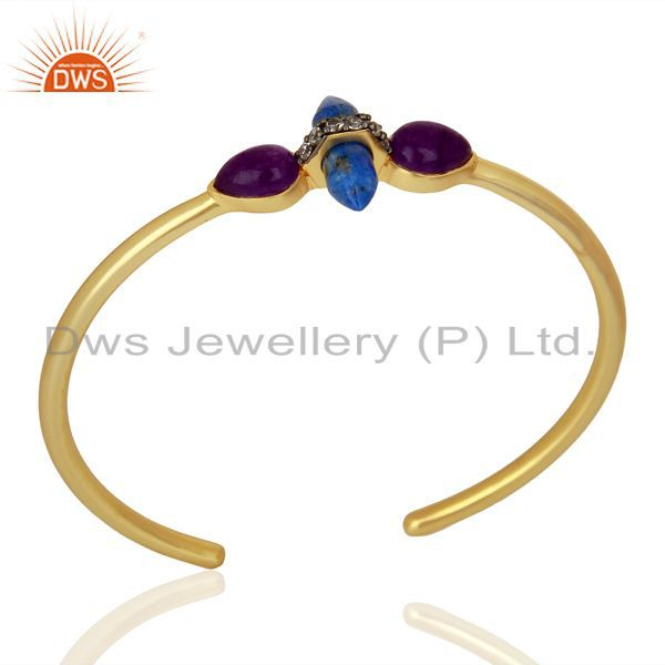 lapis and CZ Gemstone Gold Plated Fashion Cuff Bangle Supplier