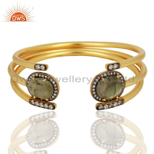 Handmade gold plated labradorite gemstone cz fashion bangle jewelry