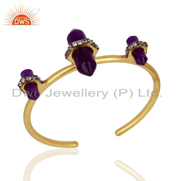 Aventurine Gemstone Gold Plated Womens Fashion Cuff Bangle Jewelry