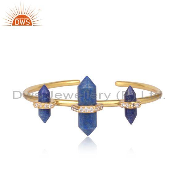 Lapis And CZ Set Handmade Gold On Brass Statement Bangle
