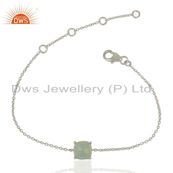 Aqua chalcedony chain and link 925 sterling silver gemstone jewelry