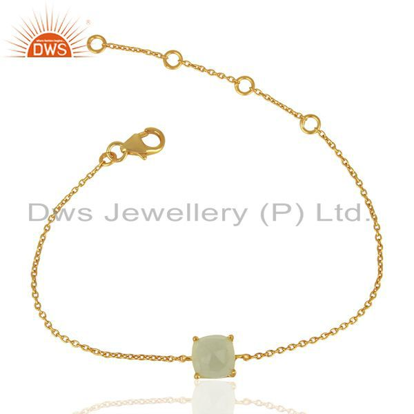 Aqua Chalcedony Chain And Link 14K Gold Plated 925 Sterling Silver Bracelet