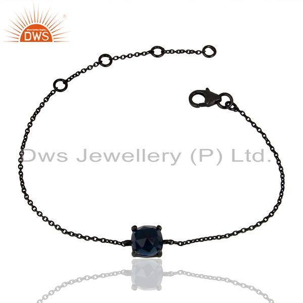Blue corundum chain link black oxidized 925 sterling silver bracelet jewelry