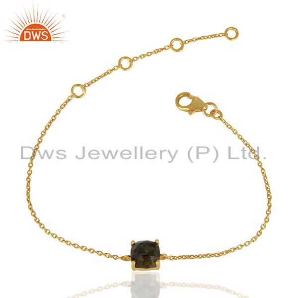 Labradorite chain link 14k gold plated sterling silver bracelet gemstone jewelry