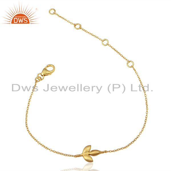 14K Yellow Gold Plated Sterling Silver Handmade Design Chain Bracelet Jewelry