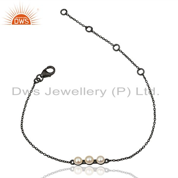 Pearl Chain Link Black Oxidized 925 Sterling Silver Bracelet Jewelry