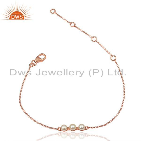 Pearl Chain Link 14K Rose Gold Plated 925 Sterling Silver Bracelet Jewelry