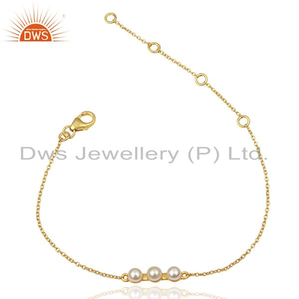 Pearl Chain Link 14K Yellow Gold Plated 925 Sterling Silver Bracelet Jewelry