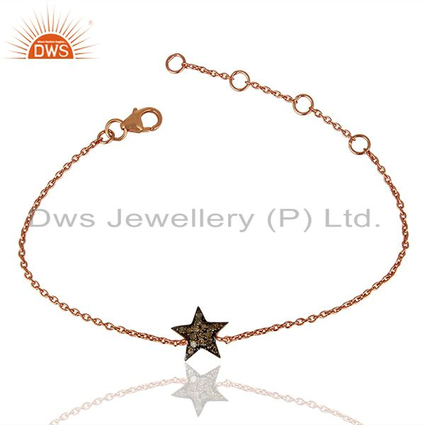 Star design pave diamond silver chain bracelet jewelry supplier