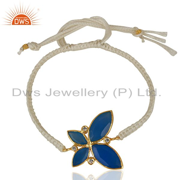 Butterfly Design Blue Chalcedony Gemstone Brass Fashion Bracelet