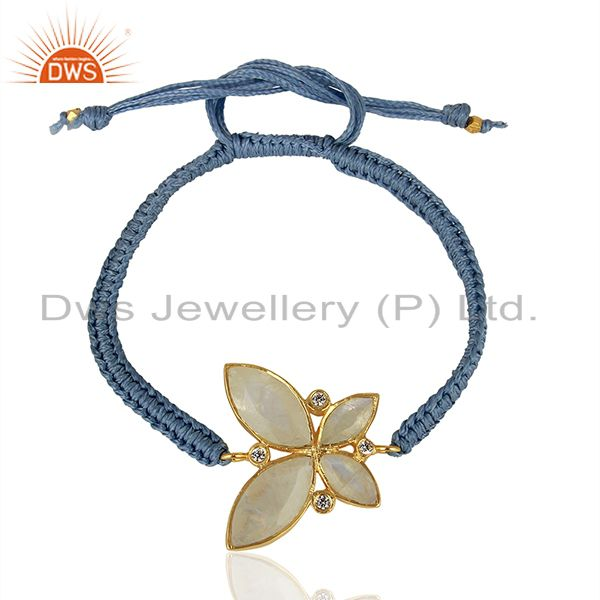 CZ Rainbow Moonstone Gold Plated Fashion Bracelet Jewelry Supplier