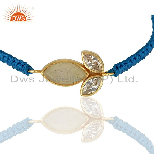 Leaf Design Rainbow Moonstone Brass Fashion Bracelet Girls Jewelry