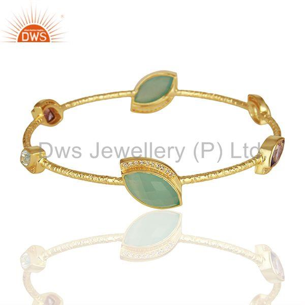 Chalcedony and cz gemstone gold plated silver bangle manufacturer